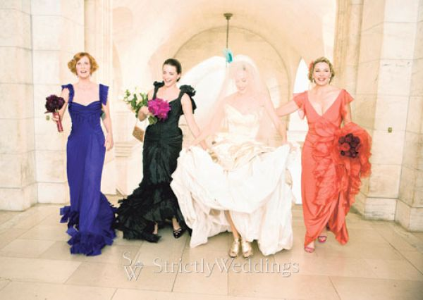Carrie Bradshaw wears a Vivienne Westwood wedding gown,