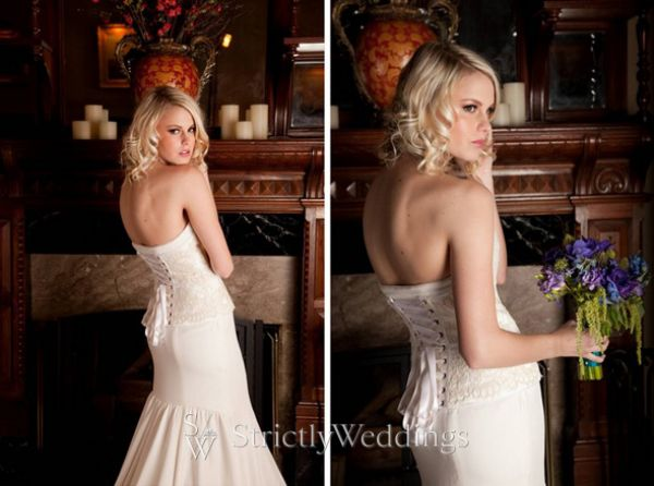 is one of her newer gowns The exposed corset laces up the back