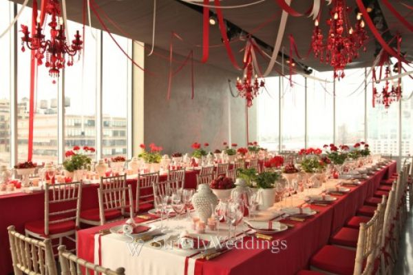 Table Red Flower Decoration
