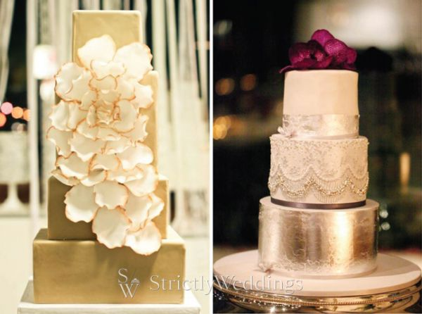 Metallic Wedding Cakes | Golden Wedding Cakes