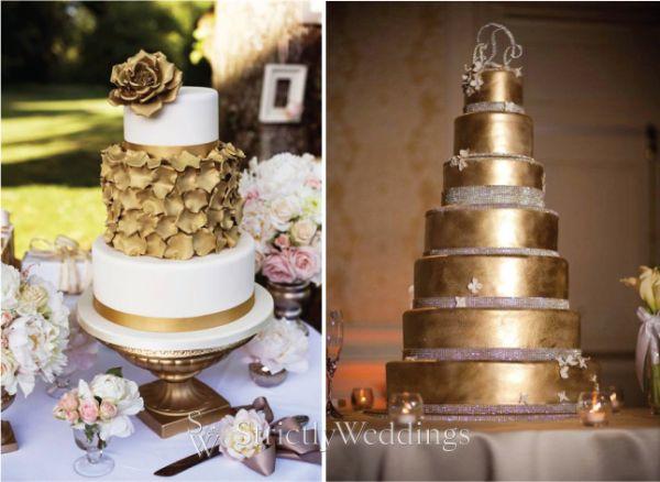 Cake Designs For Golden Wedding : Metallic Wedding Cakes Golden Wedding Cakes