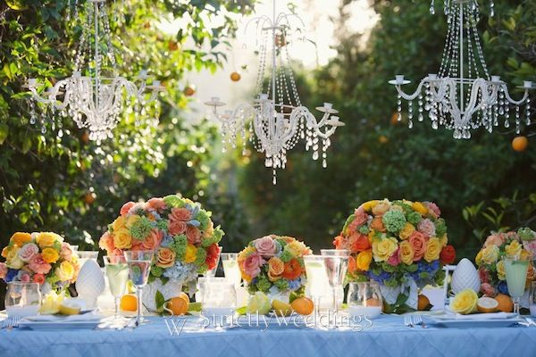 Outdoor weddings with flowers and fruit