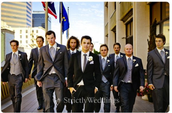 Groomsmen walking Stunning French Vintage Inspired SoCal Wedding