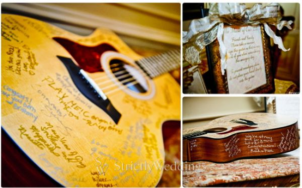 Guitar Sign in Stunning French Vintage Inspired SoCal Wedding