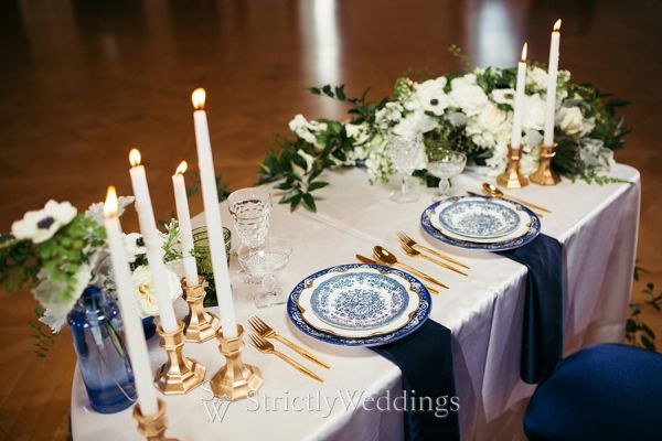 Navy Colored Wedding Theme Highlighting Greenery
