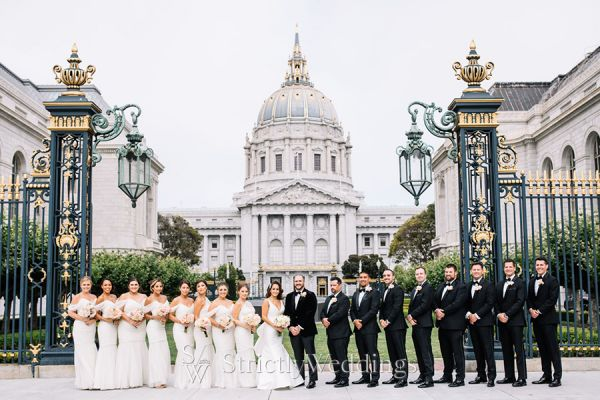 Fashionable All White Bridal Party